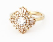 Mid Gatsby Ring - Art Deco, engagement, custom made, vintage, anniversary - white sapphires, diamonds, moissanite, morganite, black diamonds