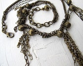 Chained Fringe Bib Tassel Necklace Bohemian Jewelry Antique Brass Tone Chain  Festival Chic Boho Triple Strand