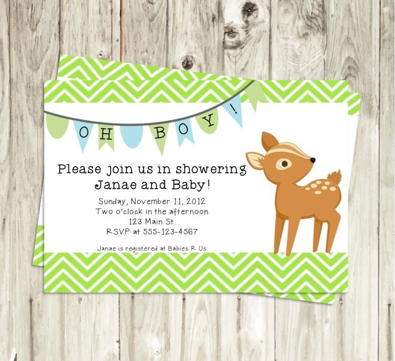 Woodland Animals Baby Boy Shower Invitation by PikNikDesign