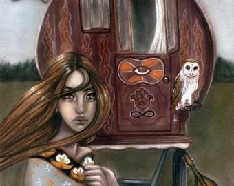 Guiding Star gypsy vardo caravan wagon tinker owl 8x10 fine art print