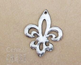 Fleur De Lis Hammered Pewter Charm Pendant - Antique Silver - 30mm x 25mm - French Paris Old World - Central Coast Charms