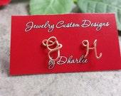 14K Rose Gold Filled Uppercase Initial Stud Earrings