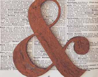 No. 1 Rusty Metal Ampersand Symbol No. 1 Sign Letters Wedding Decor Junk Love and Co