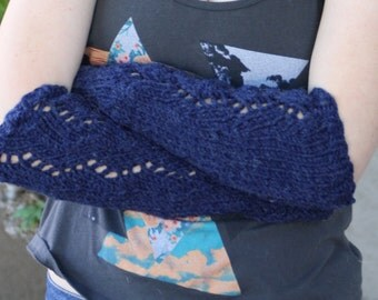 Arm warmers Denim knitted