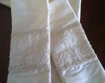 French Knots and Vintage Lace Liturgical Stole in Silk