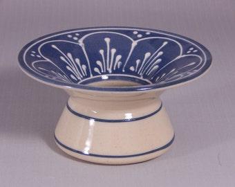 Stoneware Ikebana Vase  Pin Vase Wedding centerpiece NEW white scallops on Blue