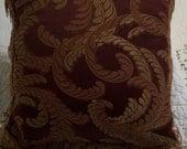 Vintage Burgundy Pillow, Decor Pillow with Leaf Design, by Nanas Vintage Shop on Etsy