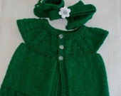 Handknit baby outift, Baby set, 3 piece outfit, St Ptaricks day, Handknit baby outfit, top, booties, headband, ALL colors. Made to Order