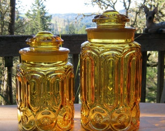 1960's LE Smith Amber Gold Canister in Moon and Stars - Medium and Large - Oak Hill Vintage