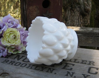 White Milk Glass Vase - Fostoria Frisco Pattern - Wedding Decor - Oak Hill Vintage