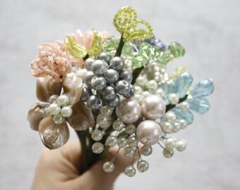DIY Brooch Bouquet, Bridal Bouquet Tutorial, FillerFlowers 2, Beaded Bouquet, Rustic Wedding Idea, How to Make a Bouquet, Flower Arrangement