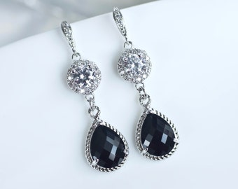 Cubic Zirconia Black Earrings, Bridesmaids Earrings, Black Earrings, Dangle Earrings, Prom Earrings, Mother of the Bride Earrings