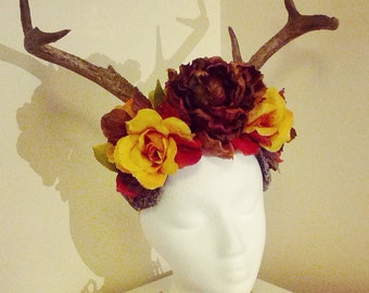 One of a kind Autumn colours vegan antler head dress.
