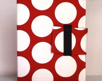 iPad Case, iPad Cover, iPad folding Stand  in modern red and white dots