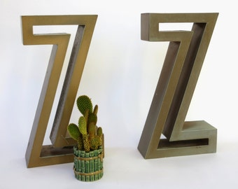 Vintage Marquee Sign Letter Capital 'Z' in Silhouette Font: Large Gold Wall Hanging Initial -- Reclaimed Industrial Advertising Salvage