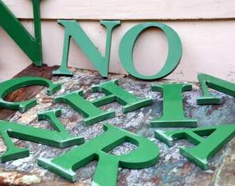 Vintage Green Marquee Sign Letters: Capital Wall Hanging Initials A C H I N O R & 'Leaves' Symbol -- Advertising Salvage, easily painted