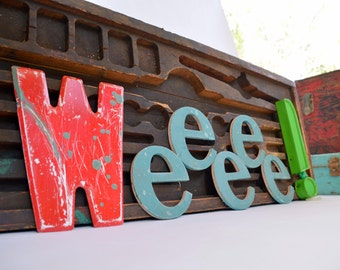 Theater Marquee Sign Letter 'M' or 'W': Distressed Red & Green Capital Metal Initial - Rustic Industrial Chippy Paint Salvage