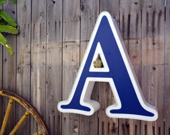Vintage Marquee Sign Letter Capital 'A': Large Blue & White Wall Hanging Initial -- Industrial Neon Channel Advertising Salvage