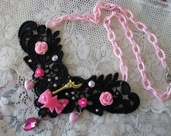 Sailor Moon Necklace - MOON CRESCENT WAND lace bib - Sailor Scout Jewelry