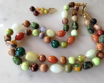 SALE_Chunky, statement, big, bold, multi strand, spring, earth tone, multi color, natural stone, handmade, beaded Necklace