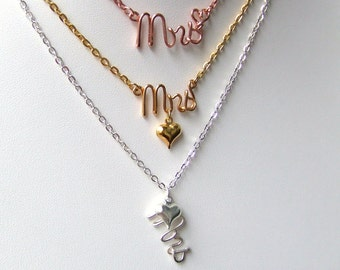 Mrs Necklace, 14K Gold Silver Copper Three Styles, Personalized Necklace, Custom Made Brides Gift, Bridal Shower Gift, Jewelry Gift Under 20