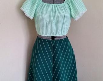 Vintage Aqua and Green A Line Skirt