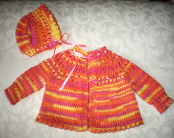 Newborn / Reborn Knitted Sweater and Hat Set