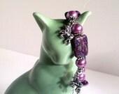Unicorn Charm Bracelet, Magenta Marble Gemstone, Unicorn Charms, Chunky Bracelet, Sizes 6' to 9' in Length