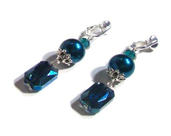"Dangle Earrings, Dark Aqua Pearl & Swarovski Crystal Dangle Earrings, 2.25"" Earrings, Classic Earrings"