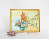 Small Impressionist Painting Docked Sailboats