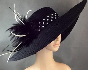 Black Derby Hat,Kentucky Derby Hat with Polka Dot hat band,Dress Hat, Wide Brim Hat ,Wedding Hat,Tea Party Hat ,Ascot hat