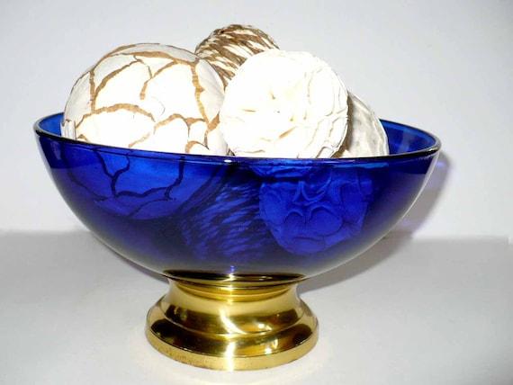Sale glass bowls cobalt blue mid century bowl modern