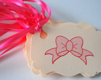 Pink Bow Tags - Set of 10