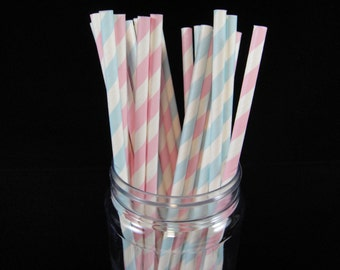 Pale Pink and Blue Striped Gender Reveal Paper Straw, Baby Showers, Gender Reveal, Paper Straws, Retro Paper Straws, Mason Jar Straw - QTY24