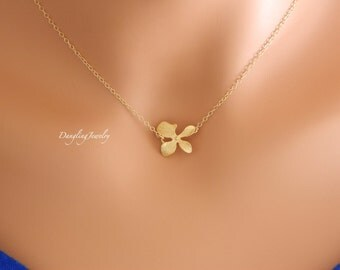 Gold Orchid Necklace, Dainty Necklace, Flower Necklace, Bridesmaid Gift, Children Necklace, Flower Girl Necklace, Bridesmaid Necklace