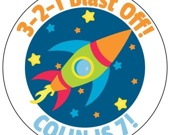 space birthday stickers for boy, outer space stickers, rocket ship party stickers--available in 3 sizes