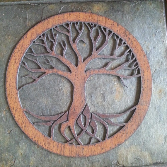Rustic Tree of Life Recycled metal art small by fttdesign on Etsy