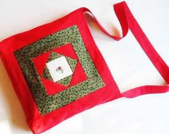 Christmas Tote, Holly, Winter Tote