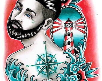 Down With the Ship 2 Lowbrow Sailor With Compass Tattoos and Waves Nautical Tattoo Decor Signed Art Print by Carissa Rose 5x7 8x10 or 11x14