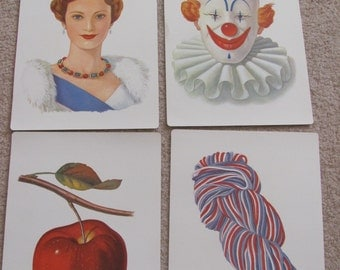 Large Illustrated School Flash Card Poster - Alphabet Letter - Your Choice - Clown - Queen - Yarn - Apple