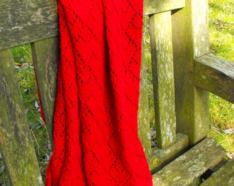 blanket - very red cotton blanket, hand knitted
