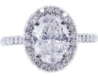 18k white gold oval cut diamond engagement ring art deco 2.00ctw h-vs2 egl usa