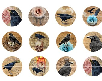 Raven Crow Magnets, Crow Pins, Goth Wedding Favors, Party Favors, Fridge Magnets, Gift Sets