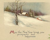 Vintage New Year's Postcard Serene Scene of Snow Covered Hillside Country Church Pine Bough Vintage Pink of Perfection Postcard