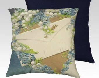 Valentine Pillow - Love Letter Amidst Blue Forget-me-Nots Lily of the Valley Velveteen Decorative Pillow Cover 18x18 Vintage Inspired Decor