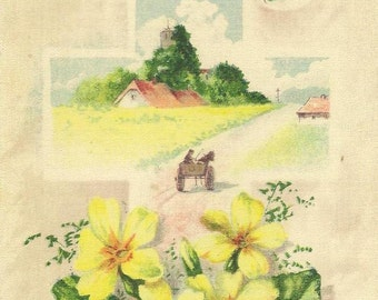 100% Silk Postcard – Peaceful Easter Thoughts ~ Yellow Primrose Farm Scene Inside Cross  Highly Collectible Vintage Easter Postcard