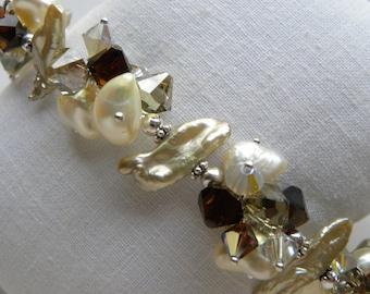 Pearl Bracelet with Topaz Swarovski Large Pearls Sterling Silver Biwa Pearl Keishi Stick Pearl Bracelet Genuine Swarovski Neutral Browns