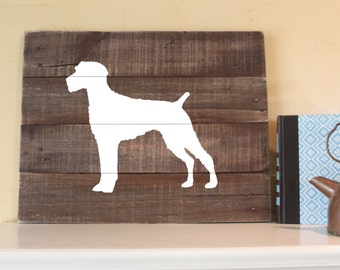 German Wirehaired Pointer Silhouette - Reclaimed Wood Sign
