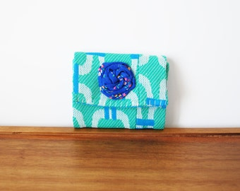 CLEARANCE-- Sea Foam Trifold Business Card or Credit Card Holder with Cobalt Rosette
