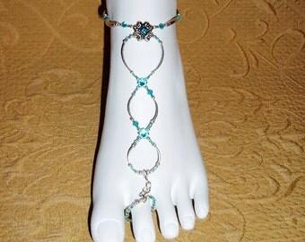 Slave anklets barefoot sandals bikini bracelets turquoise crystal brockus creations 5784